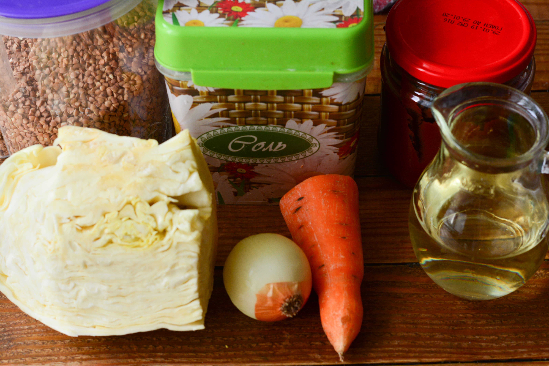 Тушеная капуста с гречкой